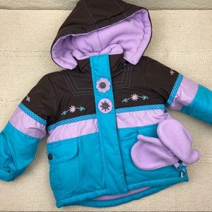 Rothschild Girl's Puffer Jacket with Mittens 12M